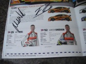 Signatures from Matt Neal (L) and Gordon Shedden (R) at the BTCC Knockhill 2016.